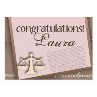Diplomado de colegio de abogados de la enhorabuena postal