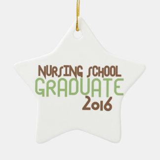 Diplomado de escuela de enfermería enrrollado 2016 adorno navideño de cerámica en forma de estrella
