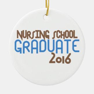 Diplomado de escuela de enfermería enrrollado 2016 adorno navideño redondo de cerámica