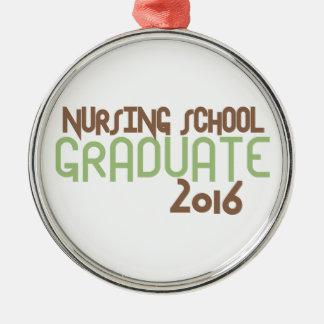 Diplomado de escuela de enfermería enrrollado 2016 adorno navideño redondo de metal