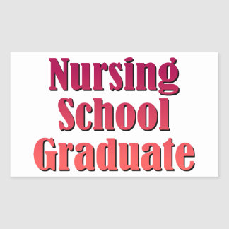 Diplomado de escuela de enfermería rectangular pegatina