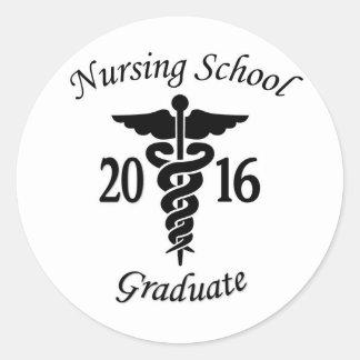 Diplomado de escuela de enfermería pegatina redonda