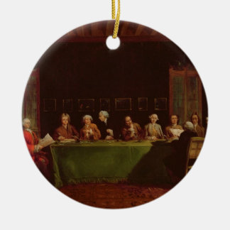 Diplomats Meeting (oil on canvas) Ceramic Ornament