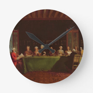 Diplomats Meeting (oil on canvas) Round Clock