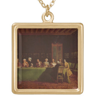 Diplomats Meeting (oil on canvas) Square Pendant Necklace