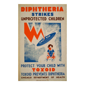 Diptheria Strikes Unprotected Children Vintage Poster