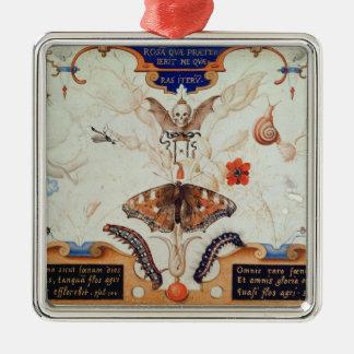 Díptica con las flores y los insectos, 1591 adorno cuadrado plateado