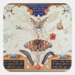 Díptica con las flores y los insectos, 1591 pegatina cuadrada