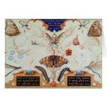 Díptica con las flores y los insectos, 1591 tarjeta de felicitación