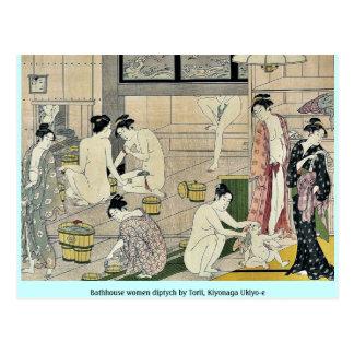 Díptica de las mujeres de la casa de baños por Tor Tarjetas Postales