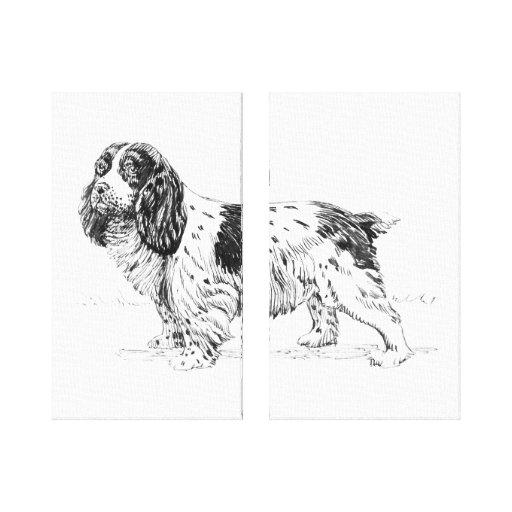 Díptica del dibujo de la raza del perro del perro impresión en lienzo estirada