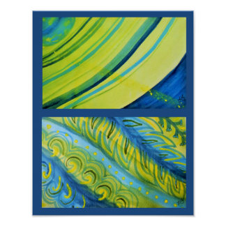 Diptych - Planet with rings and plants Poster