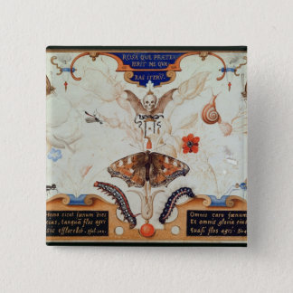 Diptych with flowers and insects, 1591 pinback button