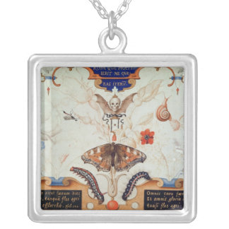 Diptych with flowers and insects, 1591 silver plated necklace