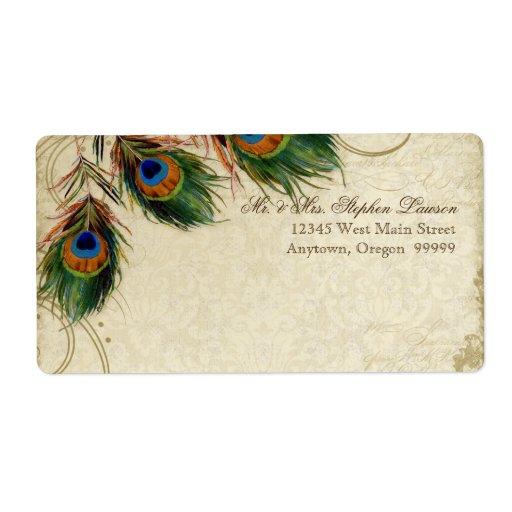 Dirección a juego del pavo real y del boda formal  etiquetas de envío