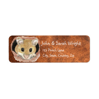 Dirección animal del ratón lindo de la acuarela etiqueta de remite