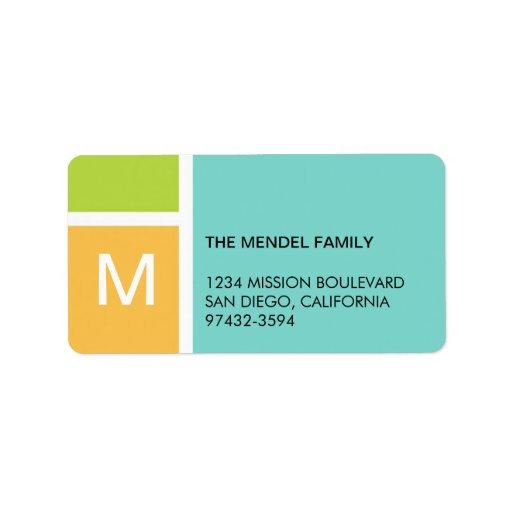 Dirección azul anaranjada moderna del monograma de etiqueta de dirección
