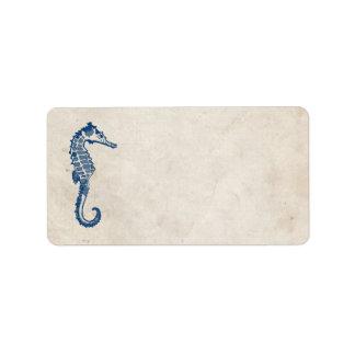 Dirección azul de la playa del caballo de mar del etiqueta de dirección