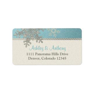 Dirección azul de plata del boda del invierno del etiqueta de dirección