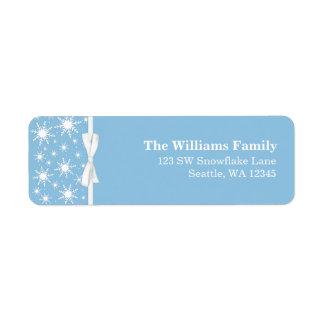 Dirección blanca y azul del navidad de la cinta de etiqueta de remite