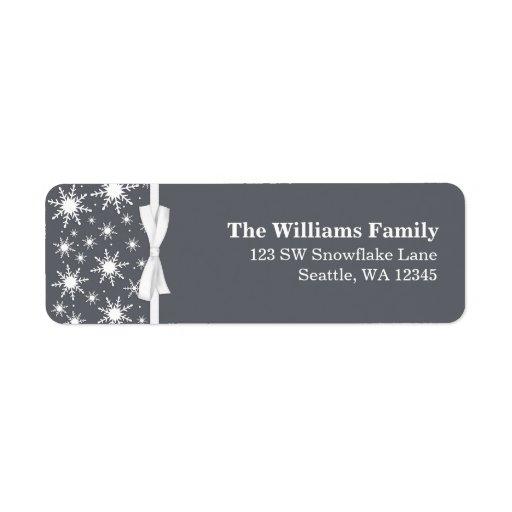 Dirección blanca y gris del navidad de la cinta de etiqueta de remite
