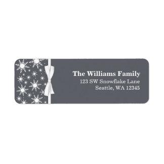Dirección blanca y gris del navidad de la cinta de etiqueta de remitente