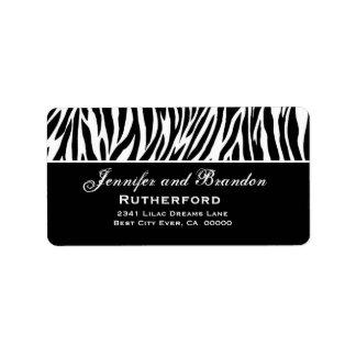 Dirección blanco y negro del boda de la cebra etiqueta de dirección