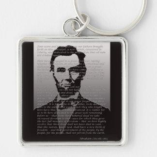 Dirección de Abraham Lincoln Gettysburg Llavero Cuadrado Plateado