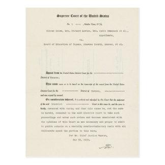 Dirección de Educación de Brown v. del proceso leg Tarjeta Postal
