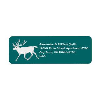 Dirección de encargo del navidad del reno blanco d etiquetas de remite