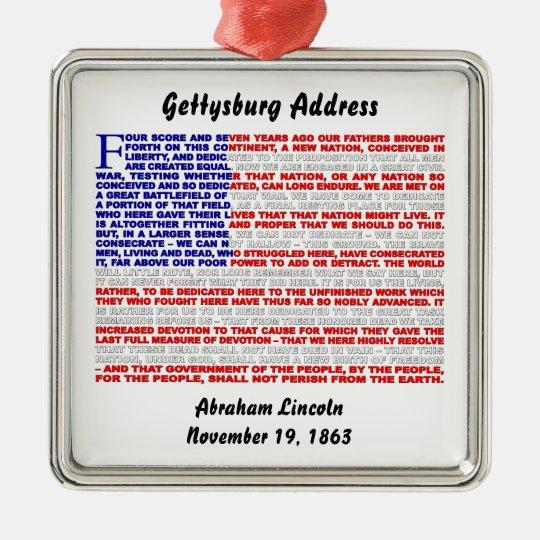 Dirección de Gettysburg Adorno Navideño Cuadrado De Metal