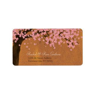 Dirección de la acuarela de Sakura de la flor de c Etiqueta De Dirección