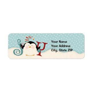 Dirección de la alegría del pingüino del navidad etiqueta de remite