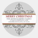 Dirección de la familia del navidad del copo de etiquetas redondas