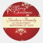 Dirección de la familia del navidad etiquetas redondas