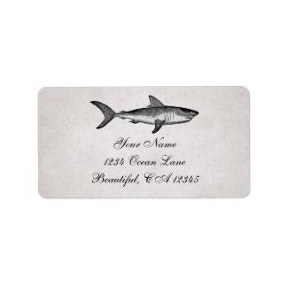 Dirección de la playa del océano del tiburón del etiqueta de dirección