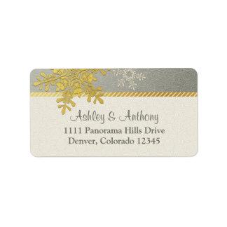 Dirección de plata del boda del invierno del copo etiquetas de dirección