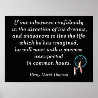 Dirección de sus sueños - cita de Thoreau - Póster