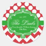 Dirección del apellido del navidad del día de pegatina redonda