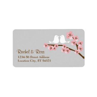 Dirección del boda del jardín de la flor de cerezo etiquetas de dirección