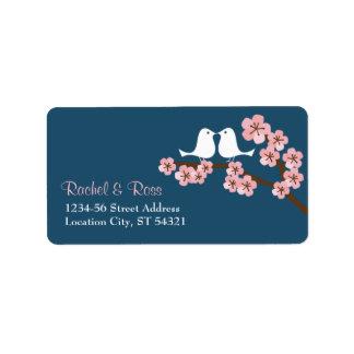 Dirección del boda del jardín de la flor de cerezo etiqueta de dirección