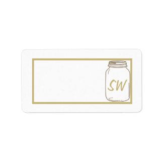 Dirección del correo del boda del tarro de Brown/d Etiquetas De Dirección