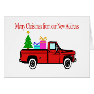 Dirección del navidad del coche y del árbol nueva tarjeta de felicitación