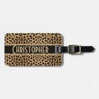 Dirección del punto del leopardo personalizada etiquetas bolsa