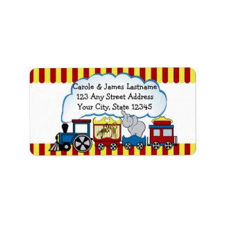 Dirección del tren del circo etiqueta de dirección
