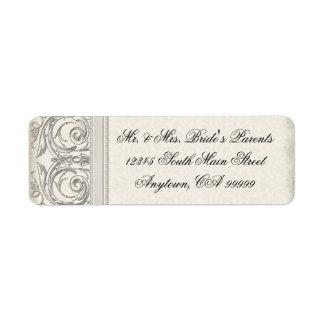 Dirección elegante del boda de la mirada del coraz etiqueta de remite