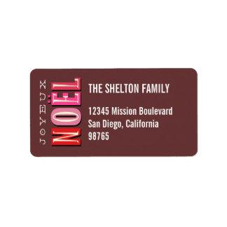 Dirección elegante rosada enrrollada del navidad d etiquetas de dirección
