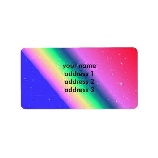 Dirección en colores pastel del arco iris etiqueta de dirección