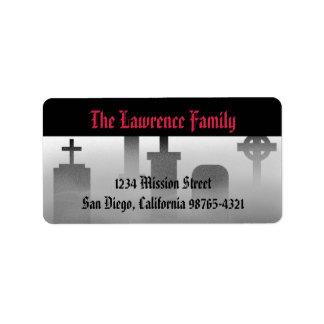 Dirección espeluznante de Halloween del cementerio Etiquetas De Dirección