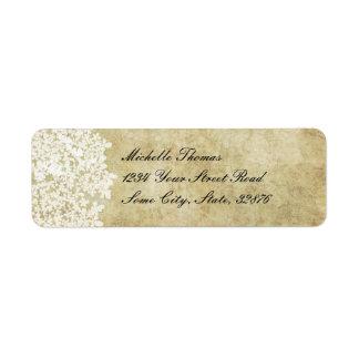 Dirección floral blanca del boda del vintage etiqueta de remite